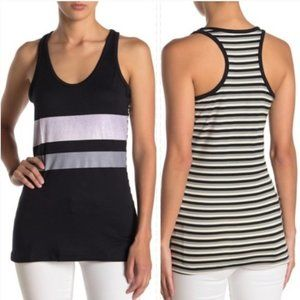 POOF! Black White Contrast Striped Tank Top Medium